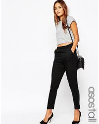 ASOS | Black Tall Woven Tapered Trouser | Lyst