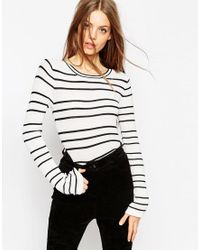 ASOS   Black Striped Jumper In Stuctured Knit With Flared Sleeve   Lyst