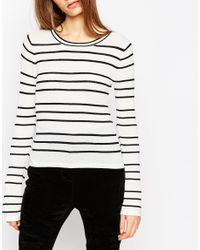 ASOS - Black Striped Jumper In Stuctured Knit With Flared Sleeve - Lyst