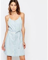 Vila   Blue Denim Dress With Tie Waist   Lyst