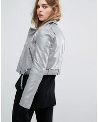 Muubaa | Metallic Muuba Sembri Cropped Leather Biker Jacket | Lyst