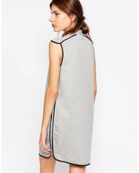 See By Chloé - Gray Ee By Chloe Jersey Dress With Grey Contrast Piping - Lyst
