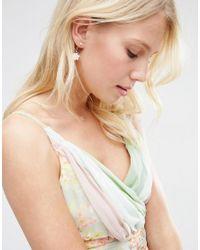 ASOS - Metallic Flower Faux Pearl Swing Earrings - Lyst