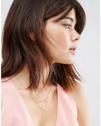 ASOS - Metallic Interlinking Heart Necklace - Lyst