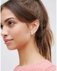 ASOS - Metallic Heart Charm Swing Earrings - Lyst