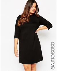 ASOS | Black Curve Ponte Shift Dress With 3/4 Sleeve | Lyst