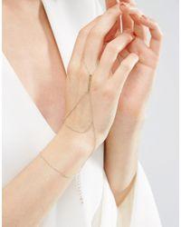 ASOS - Metallic Simple Bar Hand Harness - Gold - Lyst