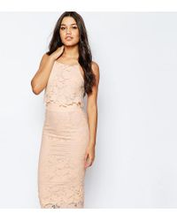 ASOS | Natural Lace Floral Scallop Midi Dress | Lyst