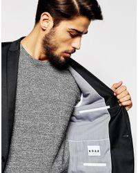 Noak | Black Flannel Wool Blazer In Super Skinny Fit for Men | Lyst