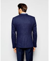 Noak - Blue Wool Blazer In Super Skinny Fit With Fleck for Men - Lyst
