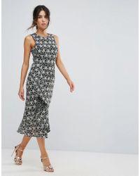 Warehouse - Multicolor Monochrome Lace Dress - Lyst