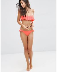 ASOS - Multicolor Moulded Frill Bandeau Bikini Top - Lyst
