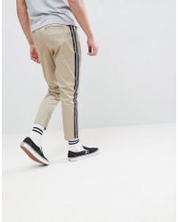 ASOS - Multicolor Asos Tapered Cropped Heavyweight Trousers With Side Stripe In Stone for Men - Lyst