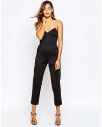 ASOS | Red Jersey Jumpsuit With Angular Bandeau | Lyst