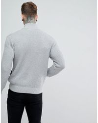 Armani Exchange - Gray Waffle Zip Through Knit In Grey for Men - Lyst