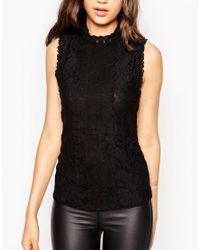 New Look - Black Victoriana Lace Top - Lyst