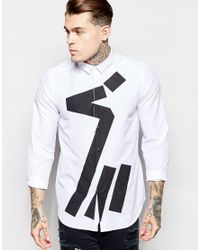 ASOS | Black White Shirt With Abstract Print In Regular Fit for Men | Lyst