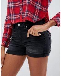 Pieces - Black Delly Denim Shorts - Lyst