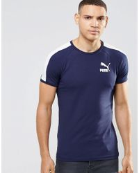 PUMA | Blue Retro T-shirt In Muscle Fit for Men | Lyst
