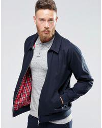 ASOS | Blue Harrington Jacket In Cotton Fabric In Navy for Men | Lyst