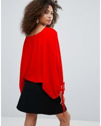 Traffic People Red Boat Neck Top With Tie Detail