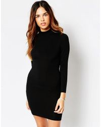 ASOS - Black Bodycon Dress With High Neck & Open Strap Back - Lyst