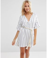 ASOS | Black Stripe Rope Belted Beach Shirt Dress | Lyst