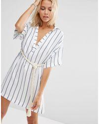 ASOS - Black Stripe Rope Belted Beach Shirt Dress - Lyst
