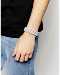 ASOS - Gray Rubber Bracelet In Grey for Men - Lyst
