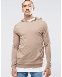 ASOS | Gray Muscle Hoodie In Lightweight Jersey In Beige for Men | Lyst