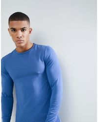 ASOS - Muscle Fit T-shirt With Long Sleeves In Blue for Men - Lyst