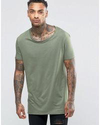 ASOS | Super Longline T-shirt With Stretch Neck And Drop Hem In Green for Men | Lyst