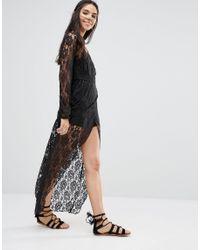 Band Of Gypsies   Black Lace Wrap Maxi Dress   Lyst