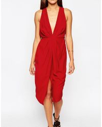 ASOS - Red Twist Front Plunge Midi Dress - Lyst