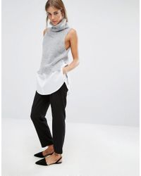 Fashion Union - Gray 2 In 1 Sleevless Roll Neck Knit Top - Lyst