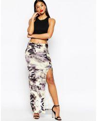 ASOS   Natural Maxi Skirt In Printed Velvet With Thigh Split   Lyst
