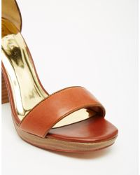 Ted Baker - Brown Lorno Leather Block Heel Sandals - Lyst