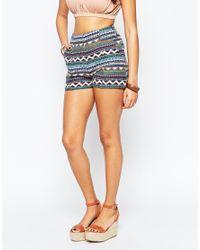 Daisy Street - Blue Shorts In Geometric Stripe Print - Lyst