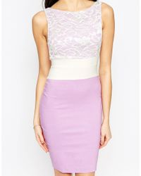 Vesper - Multicolor Hazel Midi Dress With Lace Top - Lyst