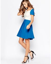 Vesper - White Sherry Fit And Flare Midi Dress - Lyst