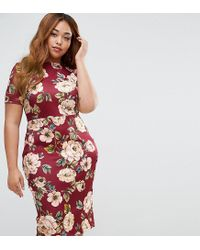ASOS - Red Oxblood Floral T-shirt Scuba Bodycon Dress - Lyst