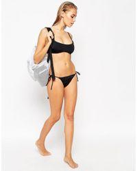 ASOS - Black Mix And Match Skinny Strap Crop Bikini Top - Lyst