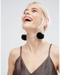 ASOS - Pom Drop Earrings - Black - Lyst