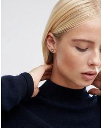 ASOS - Metallic Crescent Stud Earrings - Silver - Lyst