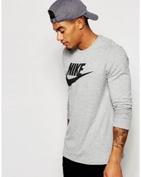 Nike | Gray Longsleeve T-shirt With Large Logo 708466-063 for Men | Lyst