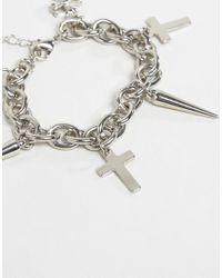 ASOS - Metallic Cross & Spike Chain Bracelet - Lyst