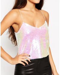 ASOS | White Cropped Iridescent Sequin Cami | Lyst