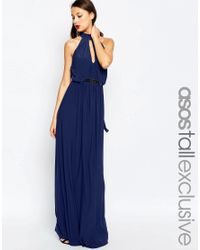 ASOS - Blue Halter Plunge Maxi Dress With Embellished Waist - Lyst