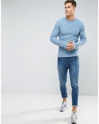 ASOS - Textured Crew Neck Sweater In Blue for Men - Lyst