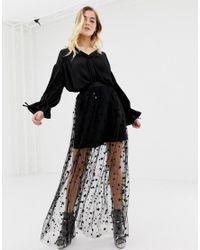 1f6703eee Glamorous Star Mesh Maxi Skirt in Black - Lyst